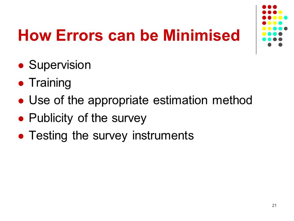 How Errors can be Minimised