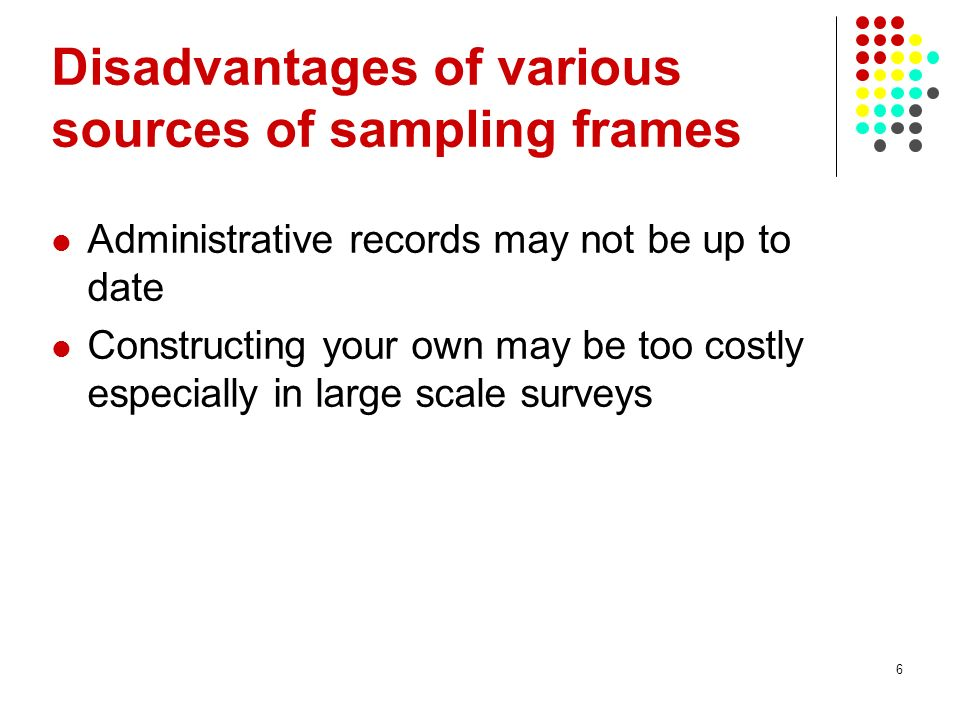 Disadvantages of various sources of sampling frames
