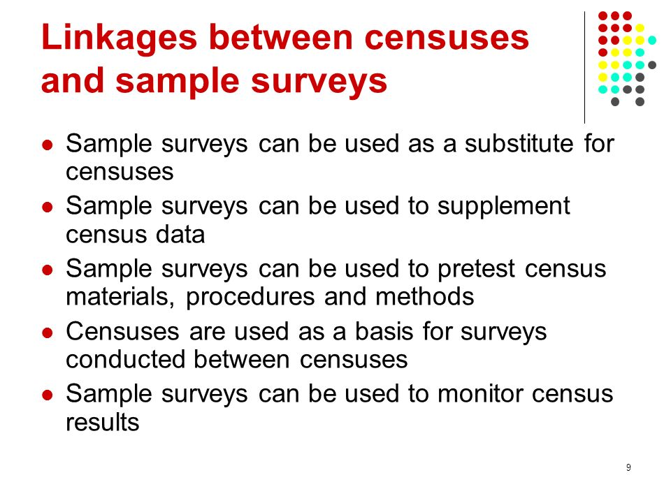 Linkages between censuses and sample surveys