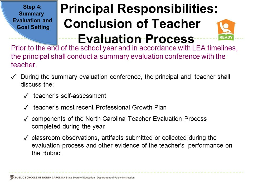 Principal Responsibilities: Conclusion of Teacher Evaluation Process