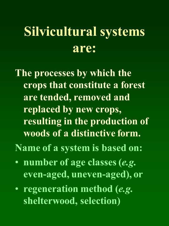 Silvicultural systems are: