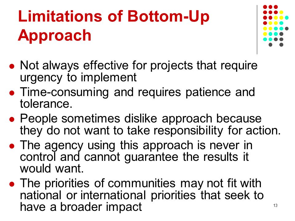 Limitations of Bottom-Up Approach