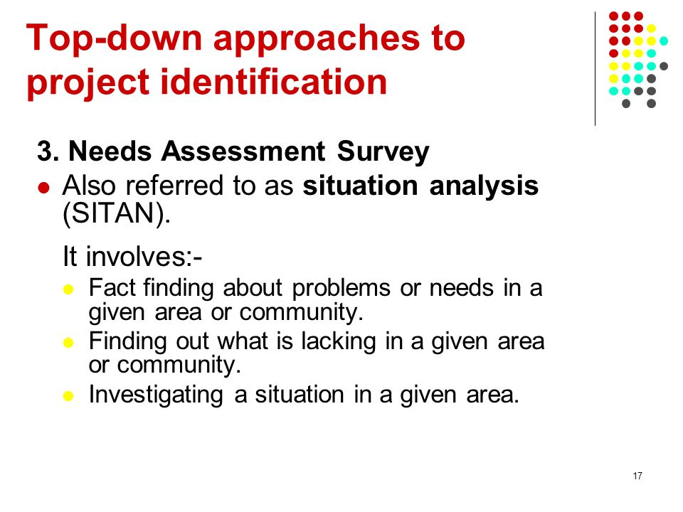Top-down approaches to project identification