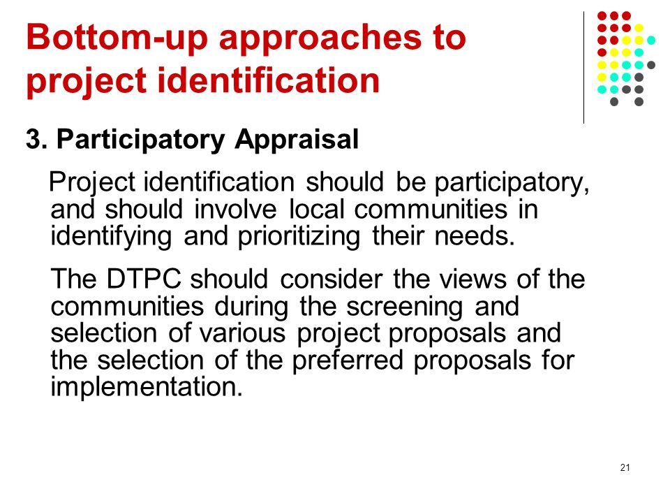 Bottom-up approaches to project identification