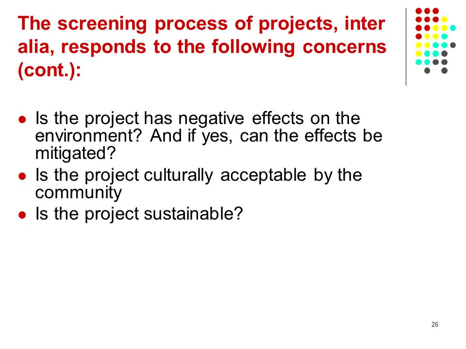 The screening process of projects, inter alia, responds to the following concerns (cont.):