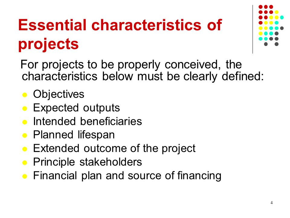 Essential characteristics of projects