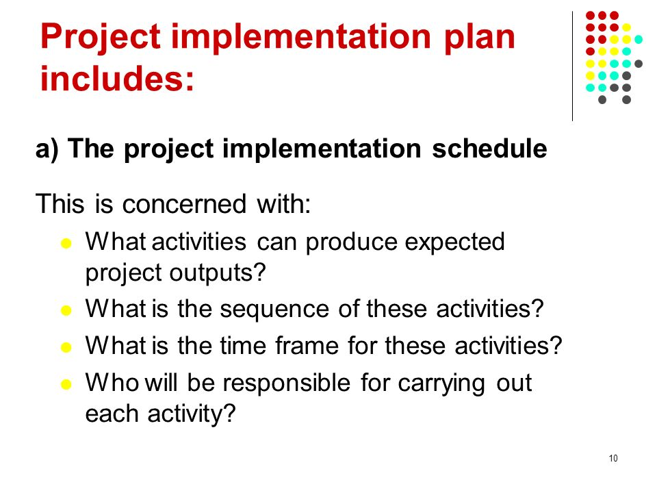 Project implementation plan includes: