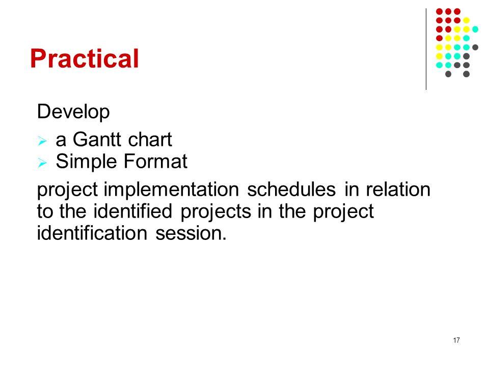 Practical Develop a Gantt chart Simple Format