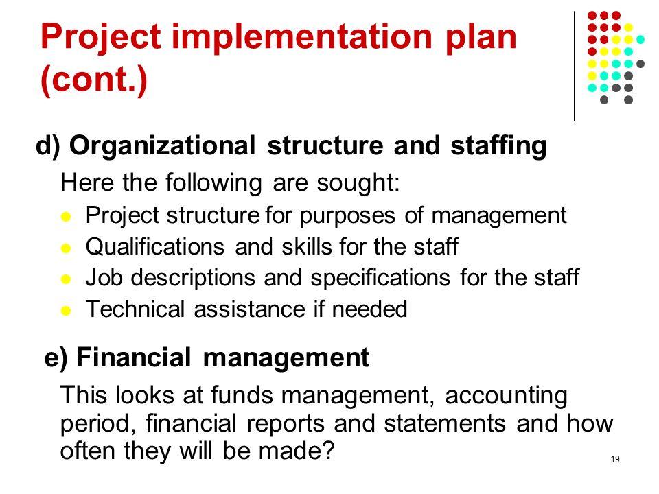 Project implementation plan (cont.)