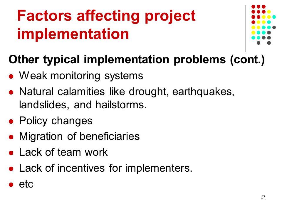 Factors affecting project implementation