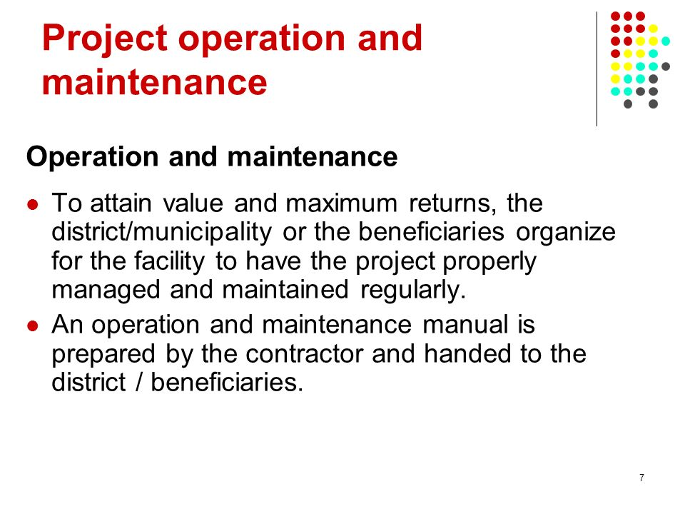 Project operation and maintenance