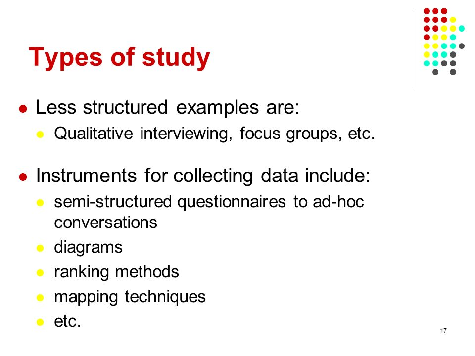 Types of study Less structured examples are: