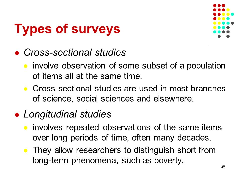 Types of surveys Cross-sectional studies Longitudinal studies