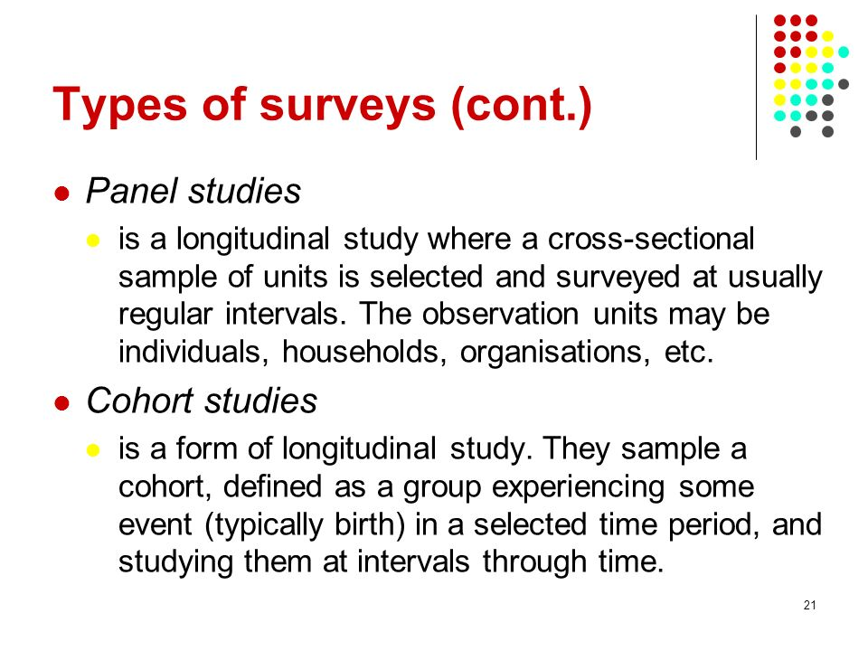 Types of surveys (cont.)