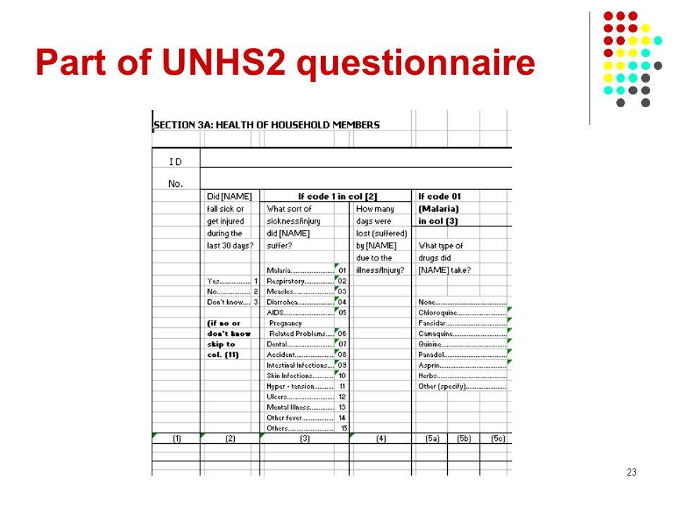 Part of UNHS2 questionnaire