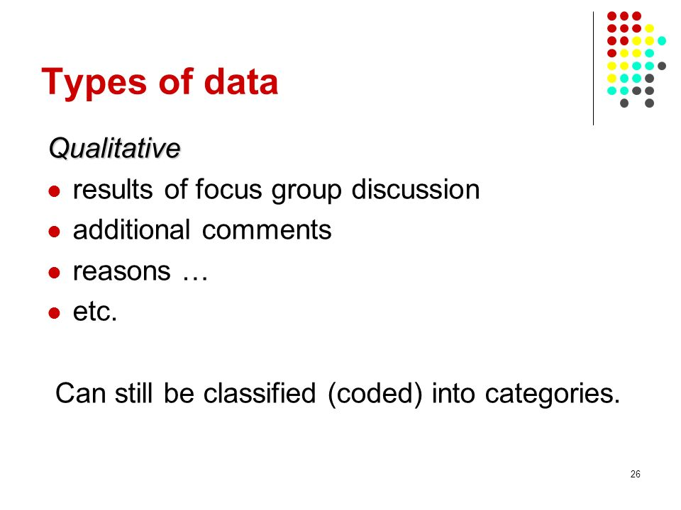 Types of data Qualitative results of focus group discussion