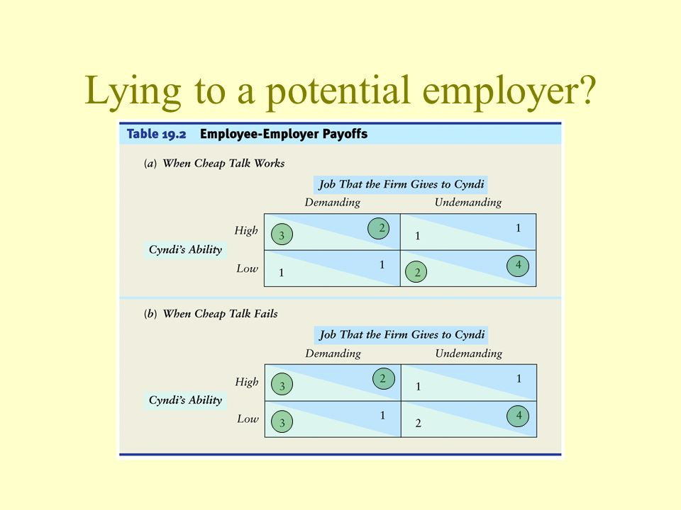 Lying to a potential employer