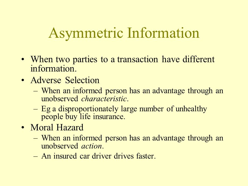 asymmetric information Asymmetric information in insurance markets: predictions and tests pierre-andr e chiapporiy bernard salani ez february 21, 2013 abstract the paper surveys a number.