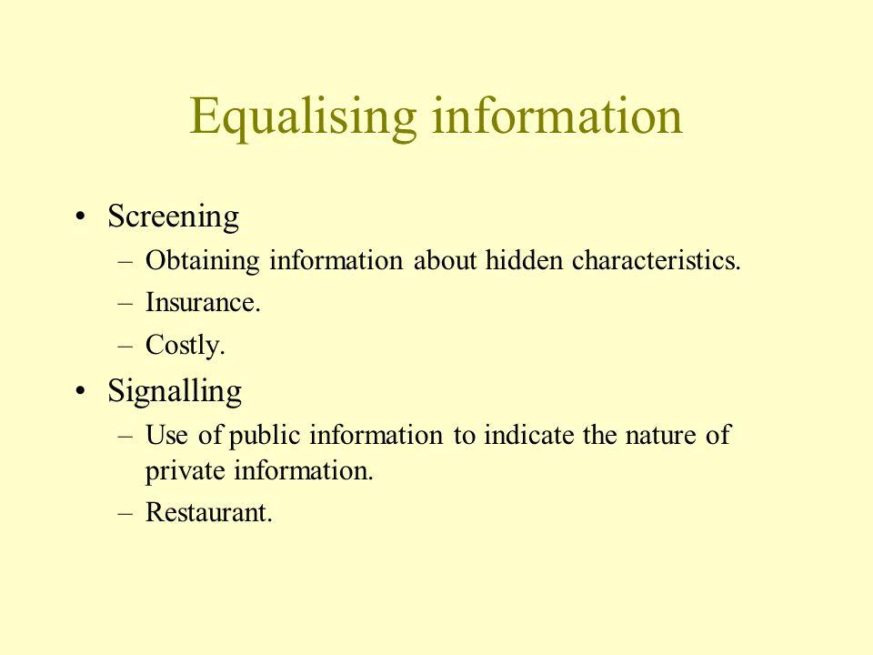 Equalising information