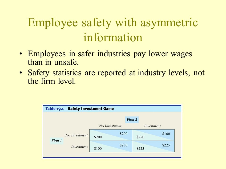 Employee safety with asymmetric information