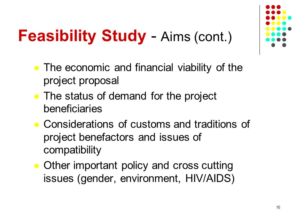 Feasibility Study - Aims (cont.)