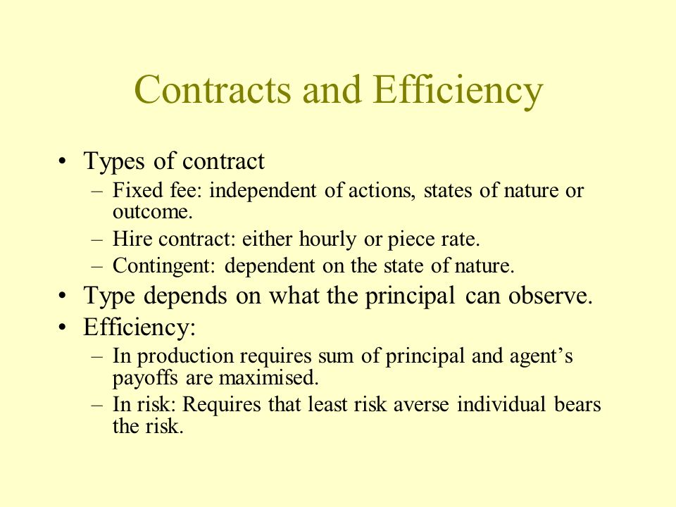 Contracts and Efficiency