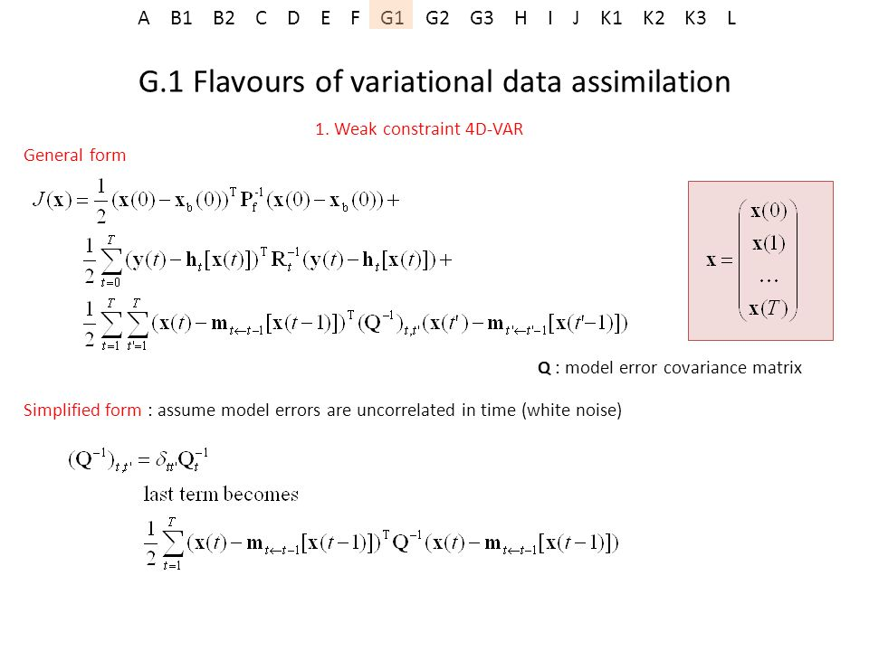 G.1 Flavours of variational data assimilation