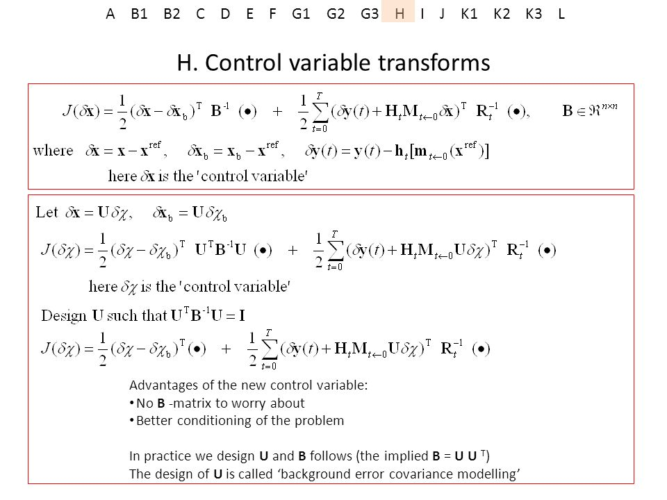 H. Control variable transforms