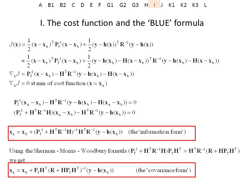 I. The cost function and the 'BLUE' formula