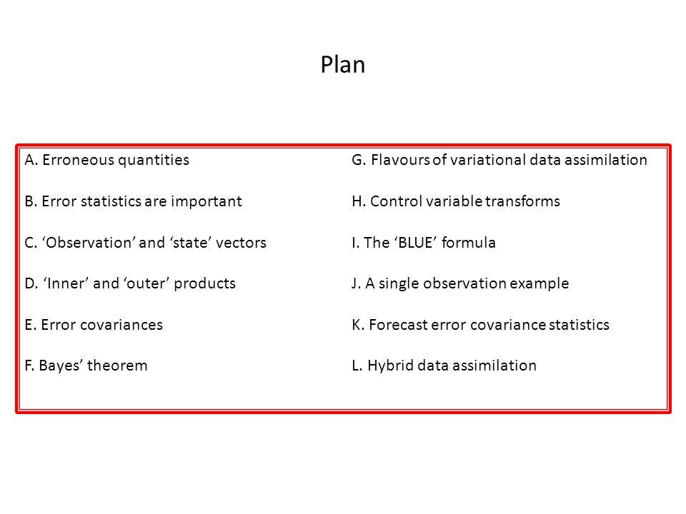 Plan A. Erroneous quantities
