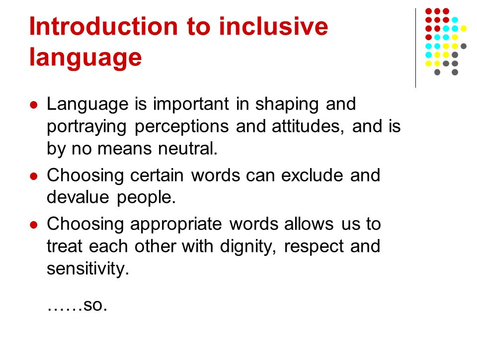 Introduction to inclusive language