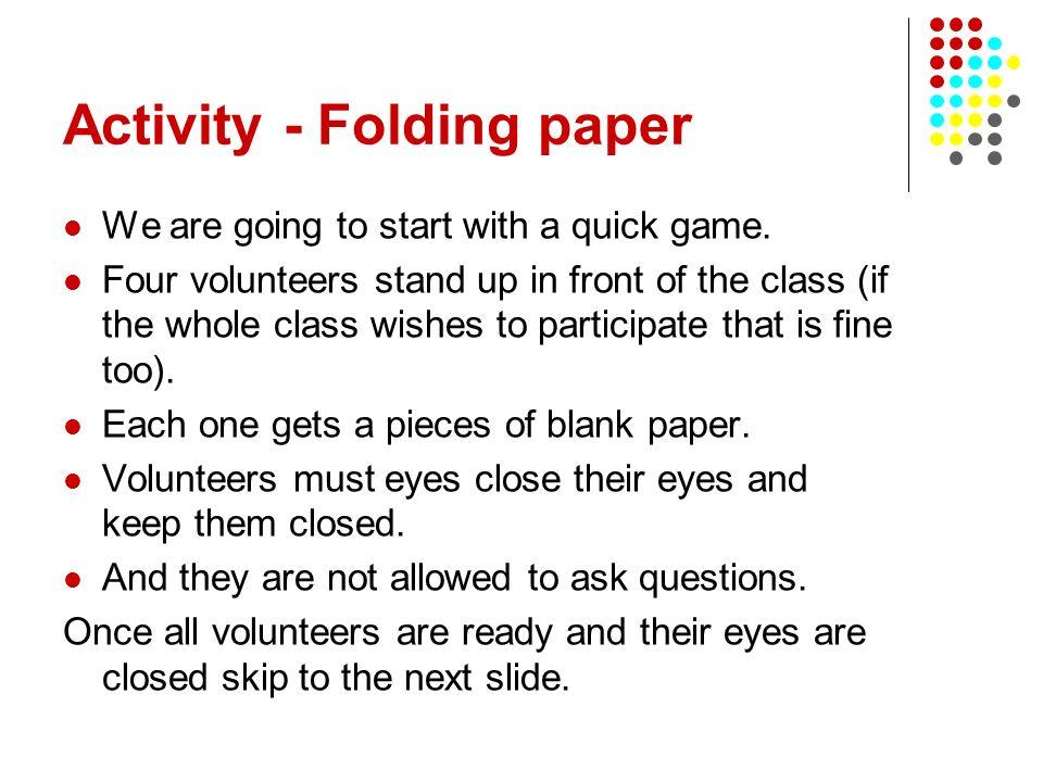 Activity - Folding paper