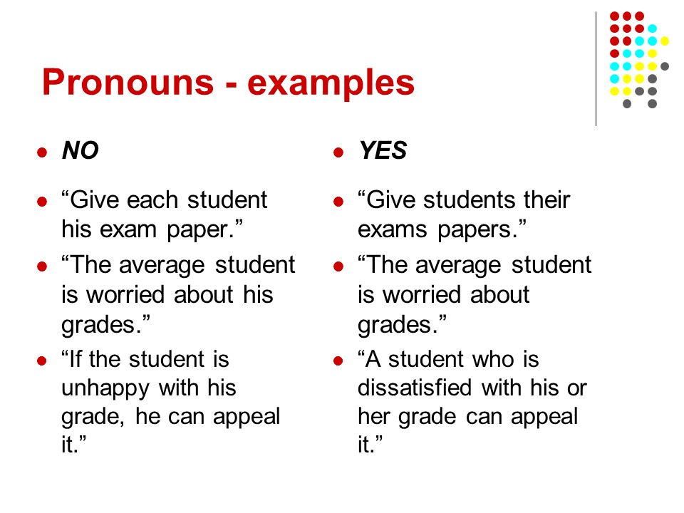 Pronouns - examples NO Give each student his exam paper.
