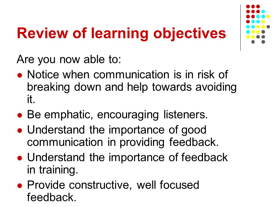 Review of learning objectives