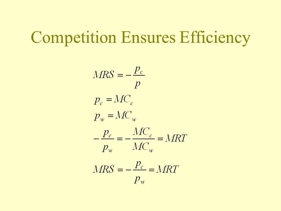 Competition Ensures Efficiency