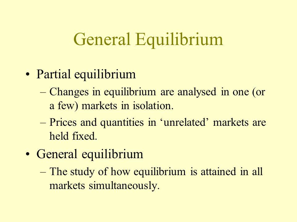 General Equilibrium Partial equilibrium General equilibrium
