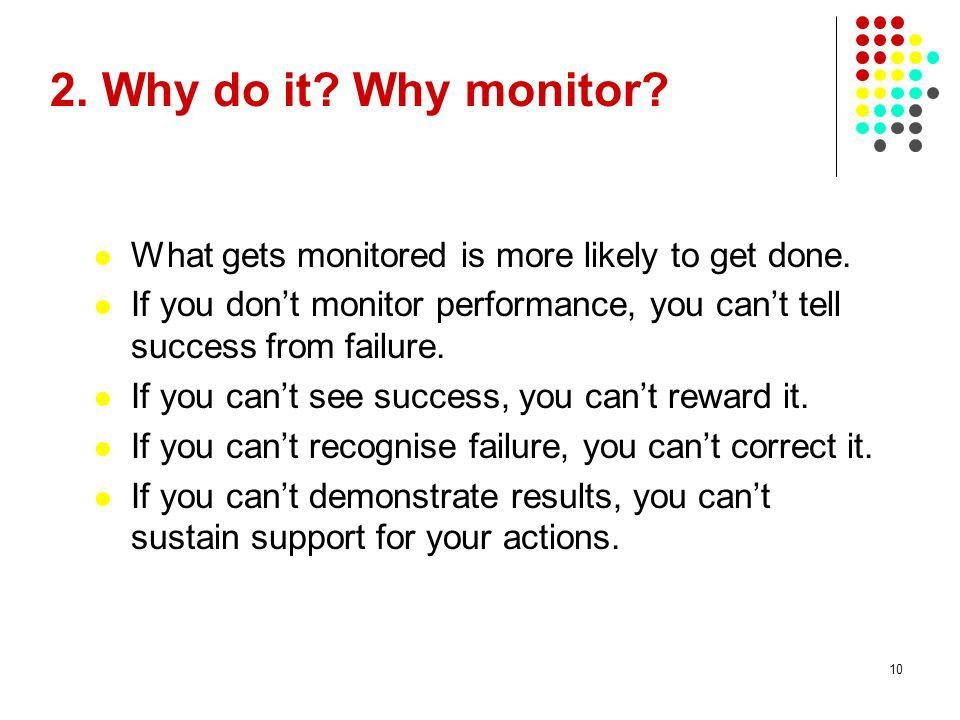 28/03/2017 2. Why do it Why monitor What gets monitored is more likely to get done.