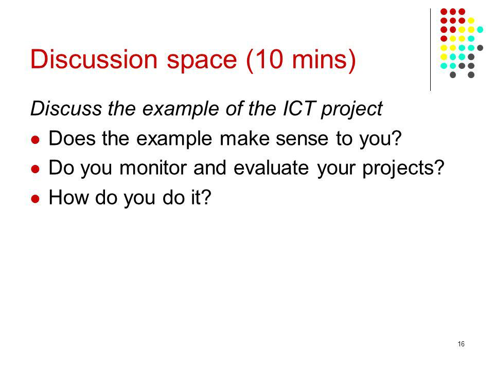Discussion space (10 mins)