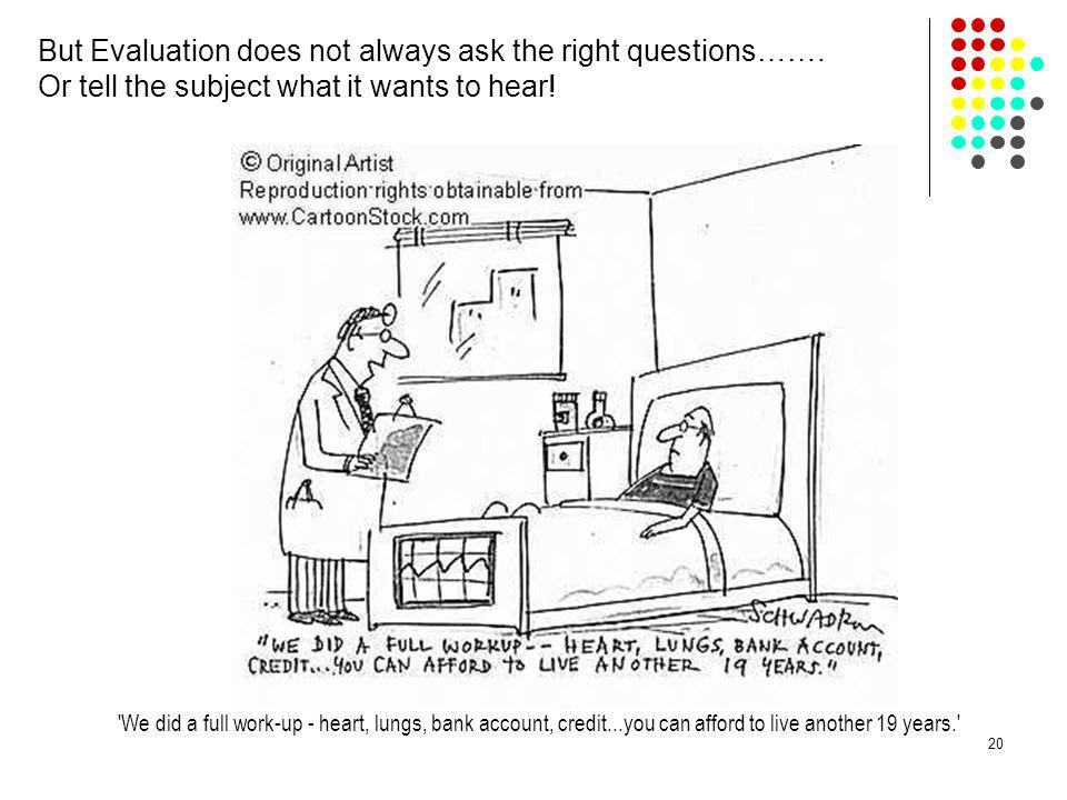 But Evaluation does not always ask the right questions…….