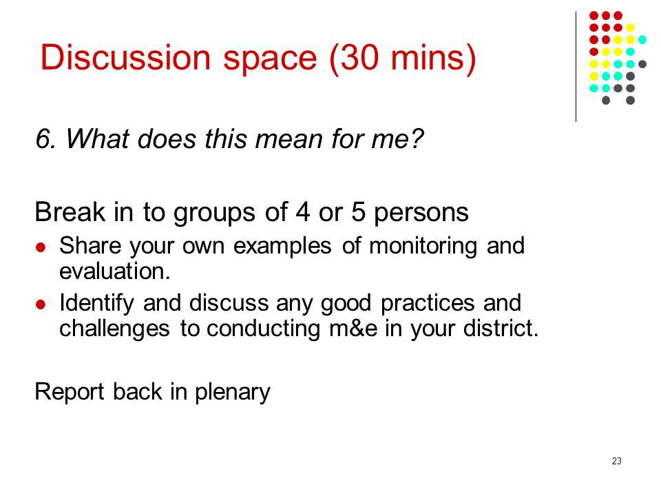 Discussion space (30 mins)
