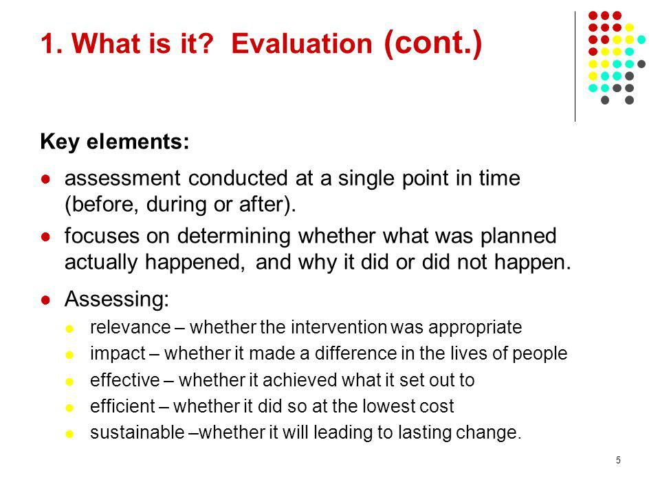 1. What is it Evaluation (cont.)