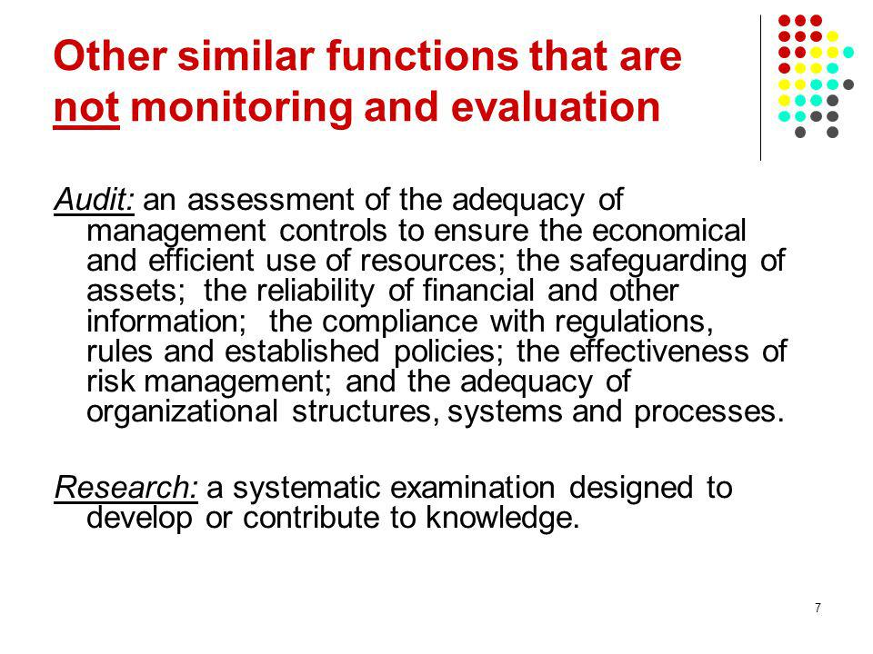Other similar functions that are not monitoring and evaluation
