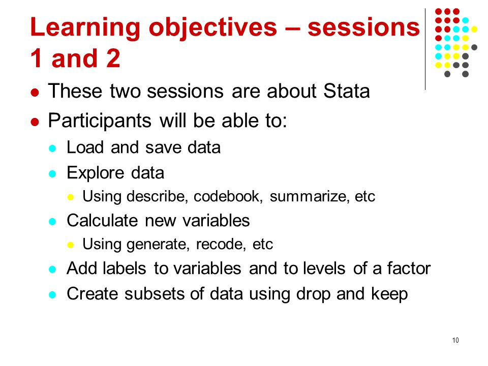 Learning objectives – sessions 1 and 2