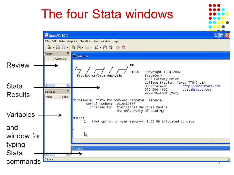 The four Stata windows Review Stata Results Variables