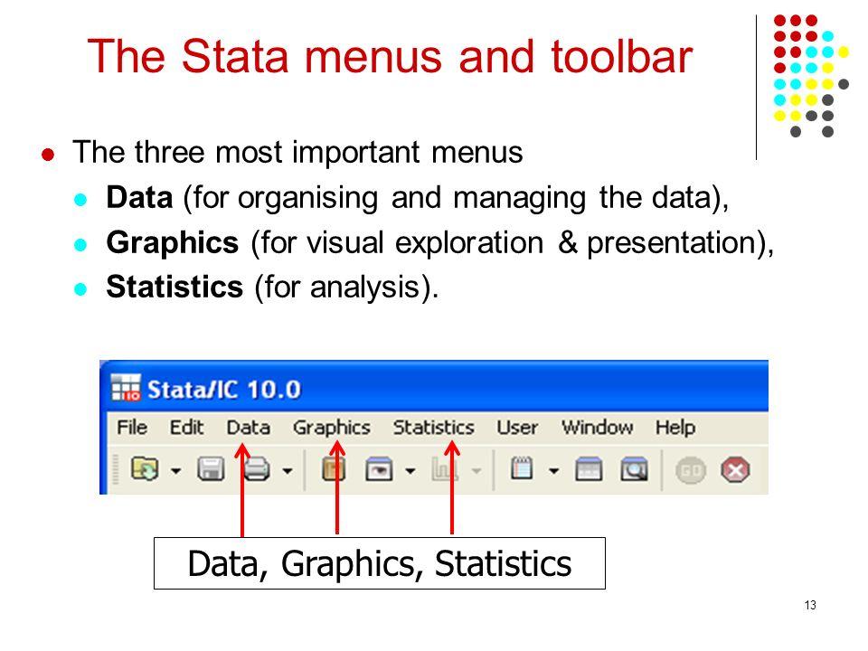 The Stata menus and toolbar