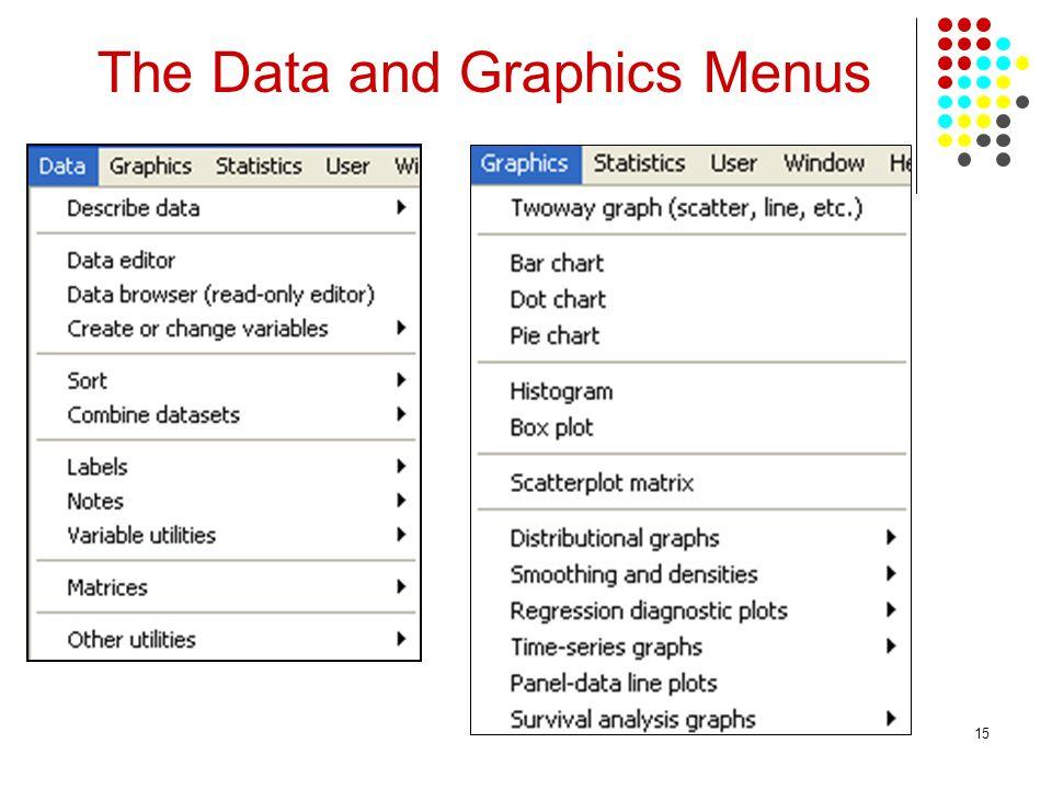 The Data and Graphics Menus