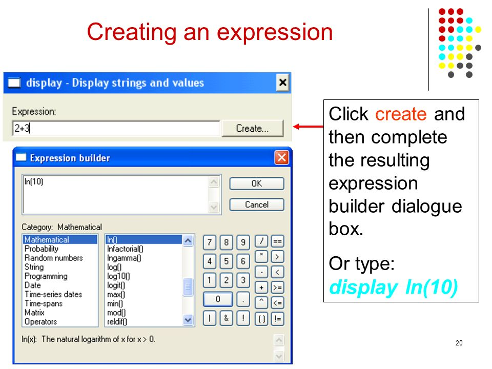 Creating an expression