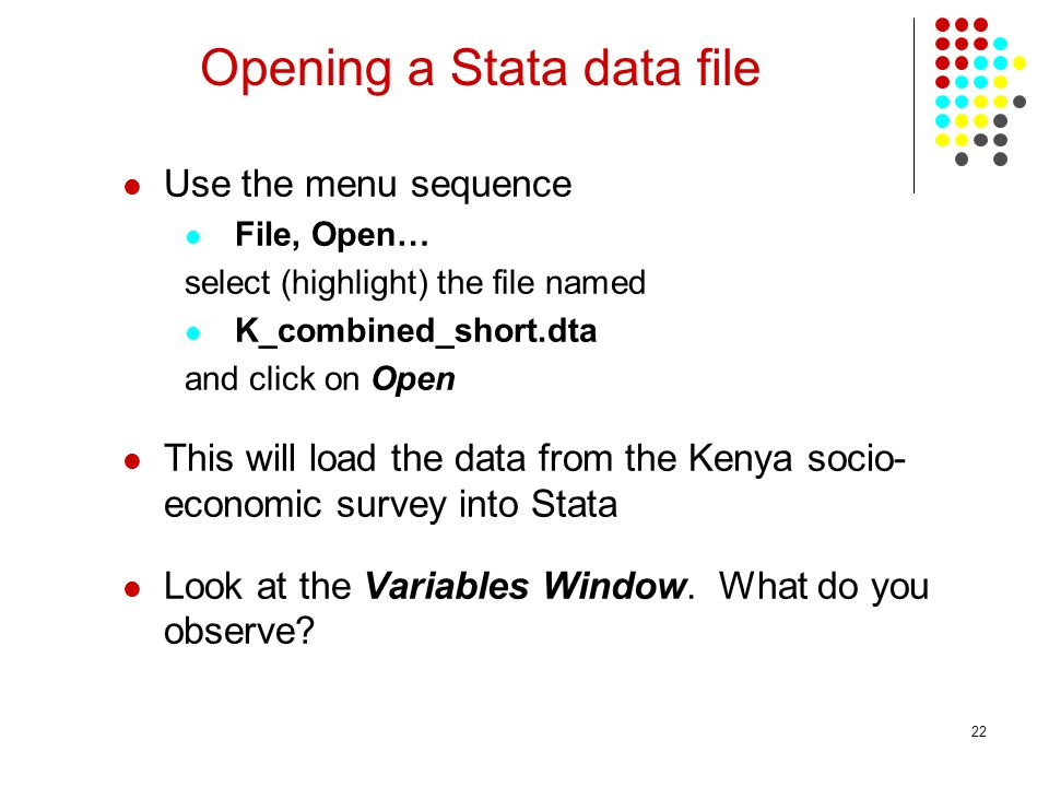 Opening a Stata data file