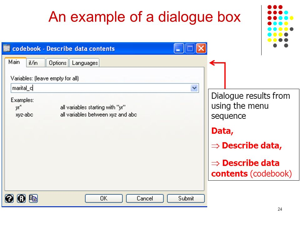 An example of a dialogue box