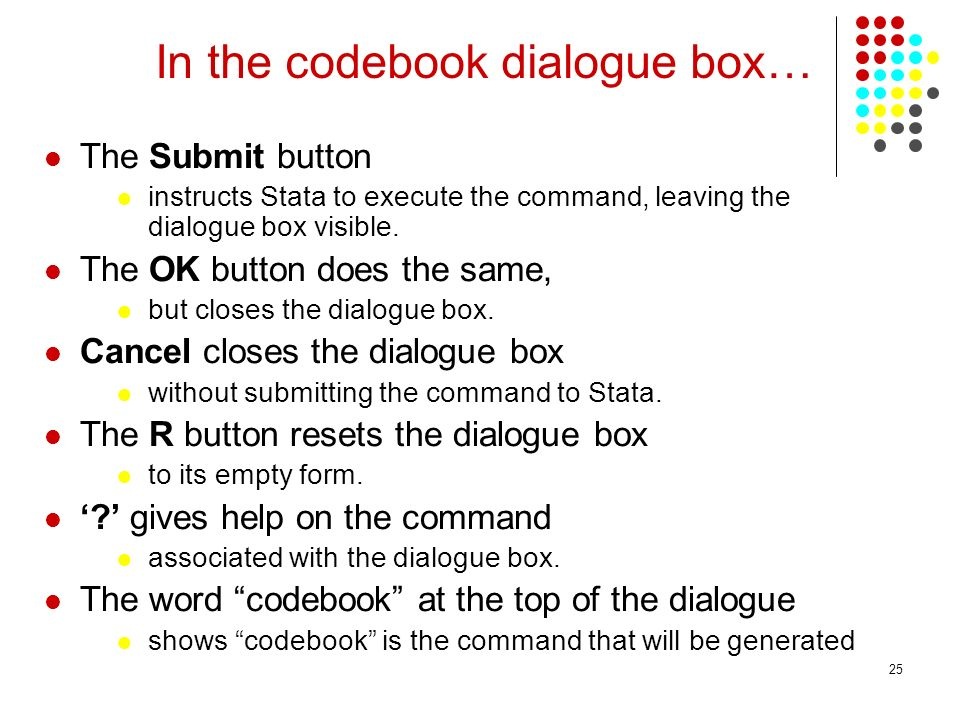 In the codebook dialogue box…